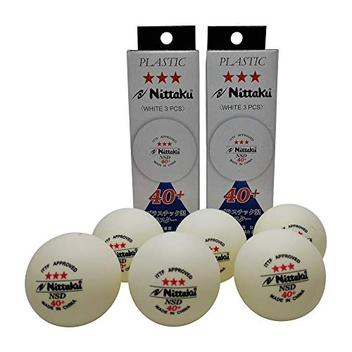 Nittaku 3-Star Table Tennis Balls 40+, Tournament Grade White Ping Poly Ball, 6 Balls bundle