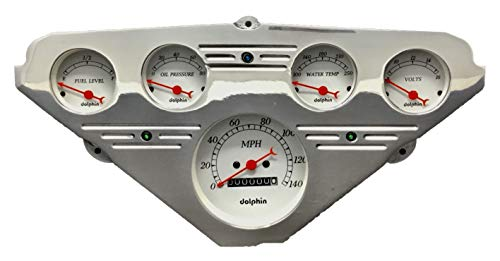 Dolphin Gauges 1955 1956 1957 1958 1959 Chevy Truck 5 Gauge Dash Cluster Panel Set Mechanical White ()