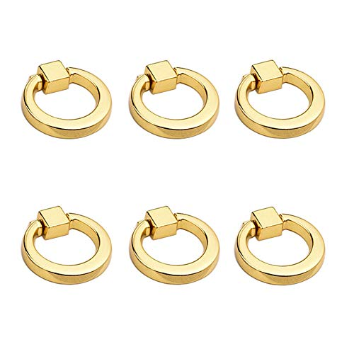 Mike Home Modern Simplicity Ring Handle Zinc Alloy Single Hole Drawers Handle Jewelry Box Knobs Dressing Table Handle 6 Pcs (Gold)
