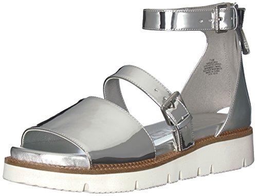 Nine West Women's SATORIA Synthetic Flat Sandal, Silver, 8.5 M US