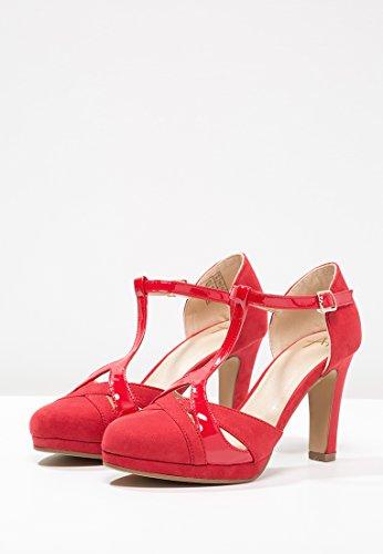 Anna Field Tacones de Mujer Estilo Mary Janes EN Negro, Rojo o Beige - Zapatos de Tacón Sandalias de Tacón Altas con Plataforma - Tacones de Gamuza - Sandalias Elegantes con Tacón DE 8.5 cm Rojo