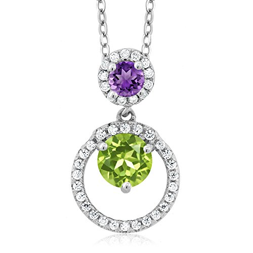 (Gem Stone King 1.69 Ct Round Green Peridot Purple Amethyst 925 Sterling Silver Pendant)
