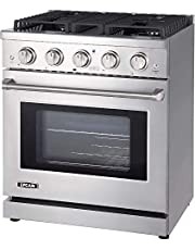 Lycan Professional Gas Range Cook Top - 4.55 cu.ft. Kitchen Gas Oven with Adjustable Rack - Heavy Duty Stainless Steel Stove with 4 Burners - Premium Freestanding Oven Range - Easy to Clean Gas Stoves