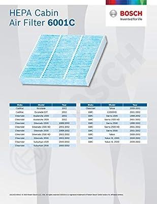 Bosch 6001c Hepa Cabin Air Filter For Select Cadillac Escalade Ext Chevrolet Avalanche Silverado Suburban Tahoe Gmc Sierra Yukon Xl Vehicles Amazon Sg Automotive