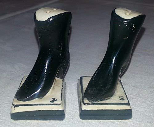 Vintage Signed JAPAN Procelain High Heel Boots Salt & Pepper Shakers