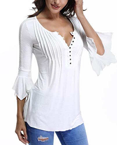 Bell Sleeve Tops for Women Button Down Pleated Front Henley Shirts Lace Insert Peasant Blouses White-XSmall