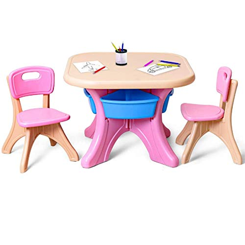 Costzon Kids Table and Chair Set, 3 Piece Activity Table w/Detachable Toy Storage Bins & 2 Chairs for Children Reading…