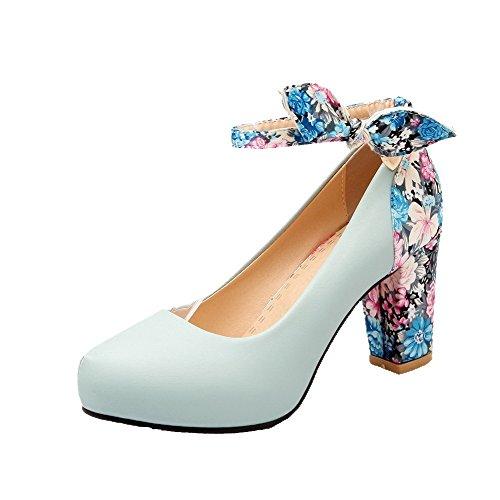 Damen Rund Zehe Schnüren Blend-Materialien Rein Hoher Absatz Pumps Schuhe, Blau, 32 AllhqFashion