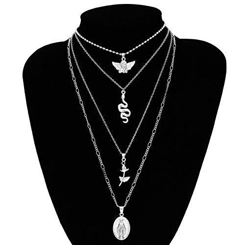 Vintage Pendant Choker Necklace   Charm Golden Rose Flower Angel Snake Long Chain Necklace   for Women Sweater