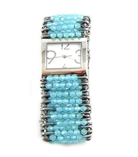 (PlanetZia Beautiful Safety Pin Stretch Watch with Hazy Blue Crystals WT-HZYBLU)