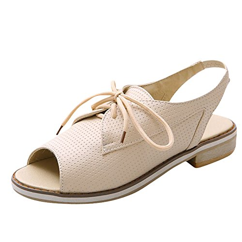Carol Shoes Women's Western Casual Low Heel Peep Toe Slingback Sandals apricot YaSfimW7C0