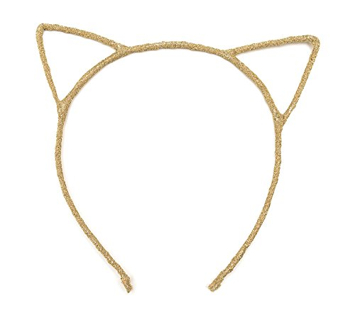 Cat Ears Hairbands by Adoara | Cute Fun Glitter Head Band Hoop - Great for Halloween or Cosplay Parties - for Babies Children and Adults (Gold) (Disfraces De Halloween De Gatas)