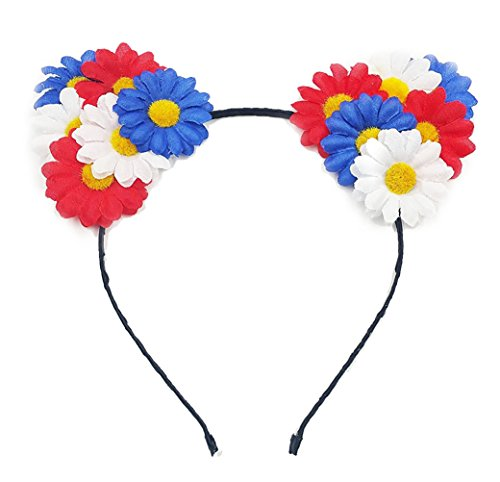 Cat Ears Elf Rose Daisy Flower Headband Hairband Anime Cosplay Costume Halloween Hair Hoop (A Daisy Rainbow)