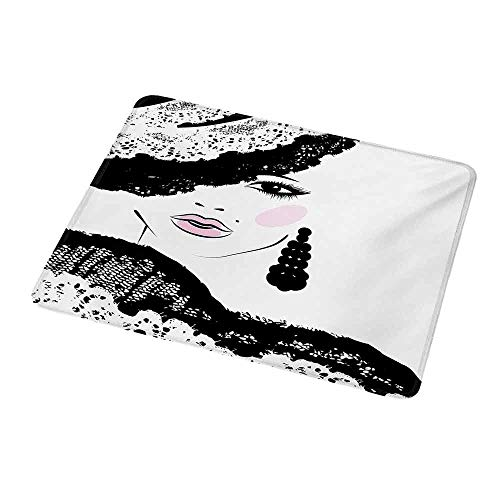 Ladies Charcoal Vault - Desktop Mousepad Teen Room,Baroque Abstract Woman Face and Patterned Hat Old Fashioned Design,Charcoal Grey Pale Pink,Non-Slip Rubber Mousepad 9.8