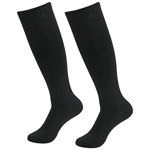 Dance Knee High Socks - Fasoar Men's Women's Comfort Fancy Design Knee High Socks Soccer Socks Pack of 2 Black  2 pack black  One Size