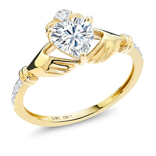 10K Yellow Gold Ring Forever Brilliant Irish Celtic Claddagh Created Moissanite & (Yellow Gold Created Moissanite Ring)