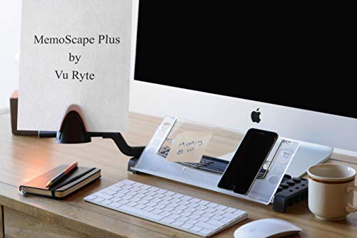 "Vu Ryte Memoscape Plus, Personal Technology, and Desk Organizer-Adjustable Ergonomic in-Line with Monitor Document Copy Holder, 12"" Wide, Black- VUR 2060 by Vu Ryte"