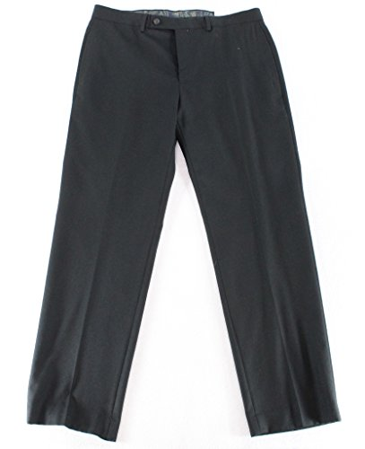 Ralph Lauren Black Wool Dress Pants For Men Classic Flat Front Style Trousers (Made Trousers Tailor)