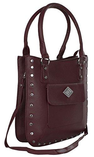 Big Handbag Shop - Bolso de asas de piel sintética para mujer Talla única profundo rojo