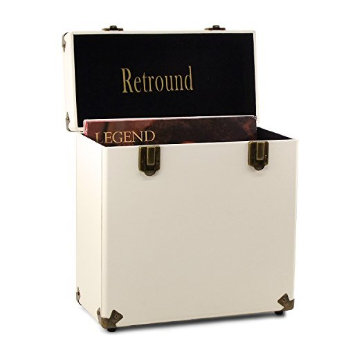 Retround Vintage Retro Vinyl Leather Record Holder Case, LP Storage Carrying Case for 78 RPM, 45 RPM, 33 RPM Standard Vinyl Records Collections Storage Organizer Display Box-12 Inch (Cream)