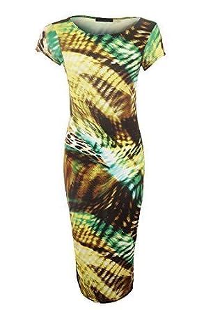 SAPHIR Damen Kreisaufdruck Midi Stretch Flügelärmel Damen Bodycon Kleid -  Gelb Grün Leopard, S/
