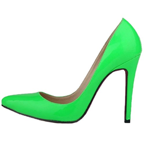 HooH Women's Pointed Toe Stiletto High Heel Pumps Red Sole Green YOgec02