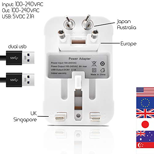 International Universal All in One Worldwide Travel Adapter Wall Charger AC Power Plug Adapter with Dual USB Charging Ports for USA EU UK AUS European Cell Phone Laptop | 2 Pack Family Deal (White) by 8bitPIZZA (Image #2)