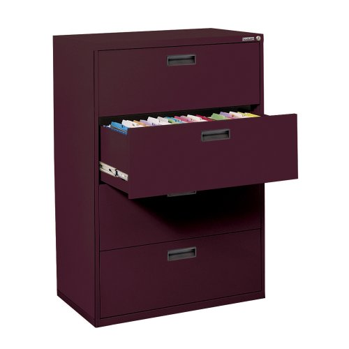 """Sandusky 400 Series Burgundy Steel Lateral File Cabinet with Plastic Handle, 30"""" Width x 53-1/4"""" Height x 18"""" Depth, 4 Drawers"""