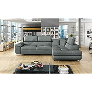 Honeypot – Sofa – Anton – Storage – sofa bed – Black/grey – White/grey – All grey – Faux leather/fabric (All Grey, Right hand corner)