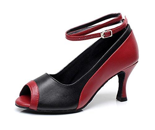 Minishion QJ7016 Womens Peep Toe Leather Modern Salsa Tango Ballroom Latin Wedding Party Evening Dance Shoes Red 9jk6vefd