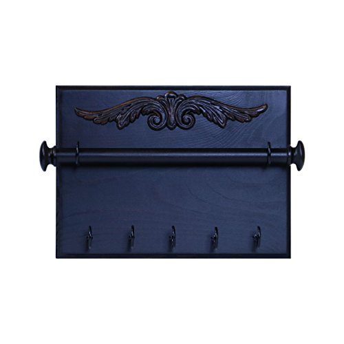 """Expresso Walnut (Jewelry Organizer with Bracelet Rod Wooden Earring Display Holder with 5 Hooks Rack Booth Display Accessories 11.5"""" w x 2.25"""" d x 8.5"""" Designed by Rooms Organized (Expresso))"""
