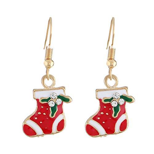 LUOEM Pendientes de aro de Navidad con Zapatos de Papá Noel Pendientes Colgantes de dijes Joyería para Damas de Mujer