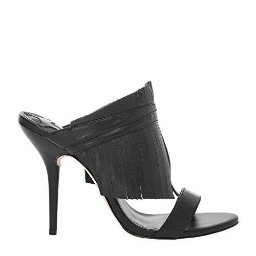 Padma - Mules À Talons Hauts Frangées Chaussures Femme Noir