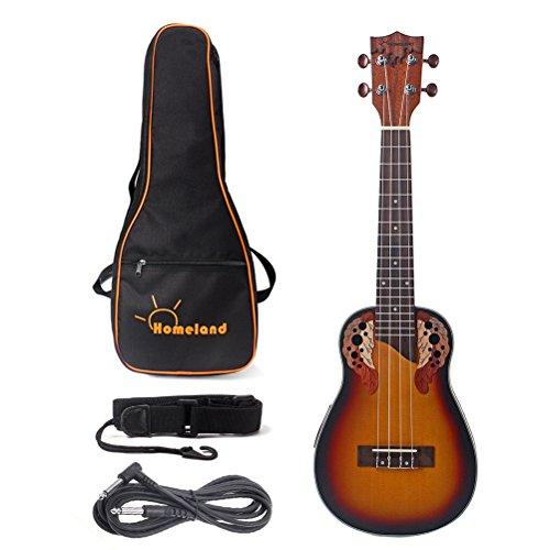 (23 Inch Solid Spruce Acoustic Ukulele Concert Guitar Mini Hawaiian Guitar 4 Strings Ukelele Rosewood Fingerboard Bridge with Gig Bag Strap (Brown))