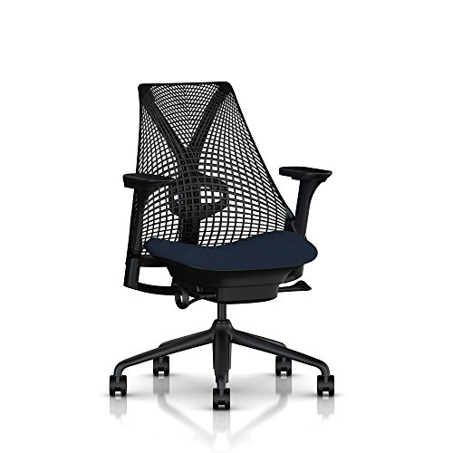Herman Miller Sayl Ergonomic Office Chair with Tilt Limiter and Carpet Casters | Adjustable Seat Angle/Depth, Lumbar Support, and Arms | Black Frame with Midnight Crepe Seat - Midnight Lumbar Support