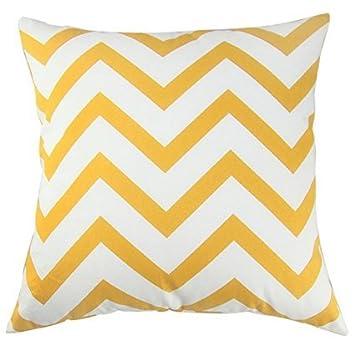 TAOSON Chevron Cushion Cover Pillow Cover Pillowcase Zig Zag Cotton Canvas Pillow Sofa Throw White Printed Linen with Hidden Zipper Closure Only Cover ...