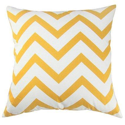 TAOSON Chevron Cushion Cover Pillow Cover Pillowcase Zig Zag Cotton Canvas Pillow Sofa Throw White Printed Linen with Hidden Zipper Closure Only Cover No Insert 18x18 Inch 45x45cm (Yellow Chevron)