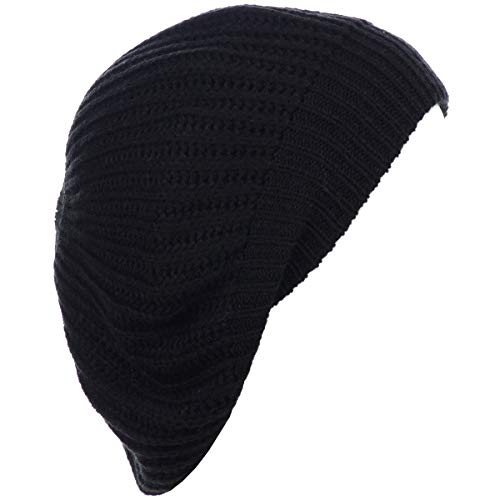 BYOS Ladies Winter Solid Chic Slouchy Ribbed Crochet Knit Beret Beanie Hat W/WO Flower Adornment, Soft Touch (Black)