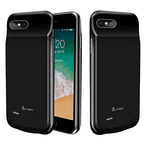 A-TION (Upgraded) iPhone 8/7 / 6 / 6S Battery Case, 3000mAh Portable Charger Case Ultra-Thin Rechargeable Extended Battery Pack Protective Backup Charging Case Compatible Apple iPhone 8&7&6 (Black)