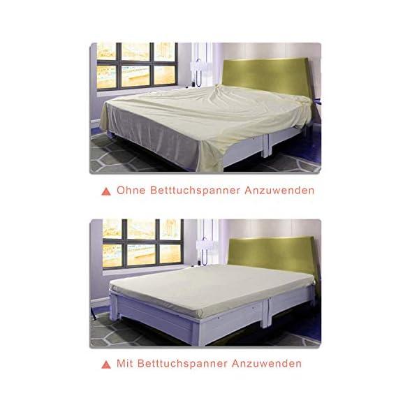 41HE A94UL Verstellbare Bettlakenspanner, 8 Stück Elastische Bettlakenspanner, Weiß Betttuchspanner, Lakenspanner mit Metallclips…