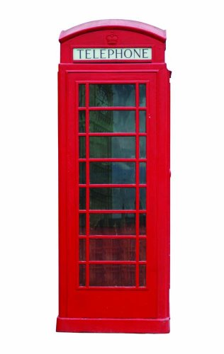 Red London Phone Booth Wall Decal by Wallmonkeys Peel and Stick Graphic (18 in H x 7 in W) WM182579