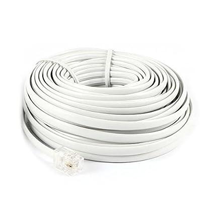 Cuerda de modem de telefono - SODIAL(R)40pies 12M RJ11 6P2C Cuerda Cable