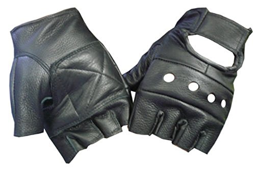 Black Leather Biker Gloves - 3