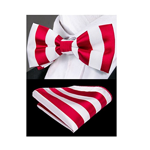 Hi-Tie Red White Stripe Bow Tie for Men Silk Bowtie Pocket Square for Wedding Cufflinks Set