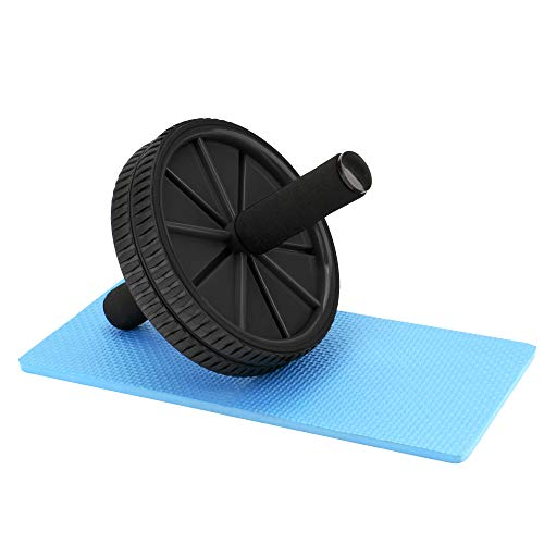 REEHUT Ab Roller Wheels with Knee Pad - The Exercise Wheels with Dual Wheels and Comfy Foam Handles - Easy Assembly, Great for Abdominal Workout(Black)