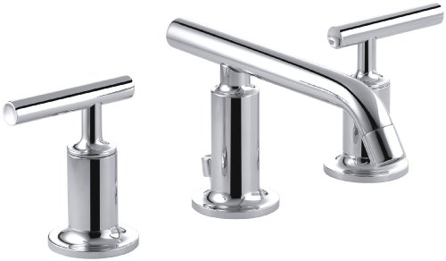 KOHLER K-14410-4-CP Purist Widespread Lavatory Faucet with Low Spout and Low Lever Handles, Polished Chrome by Kohler