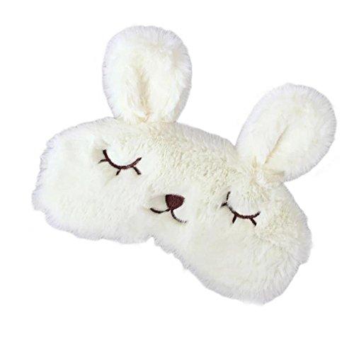 Funbase Funny Rabbit Women Sleep Eye Mask Contoured Travel Blindfold (No Icebag) (Milky White)
