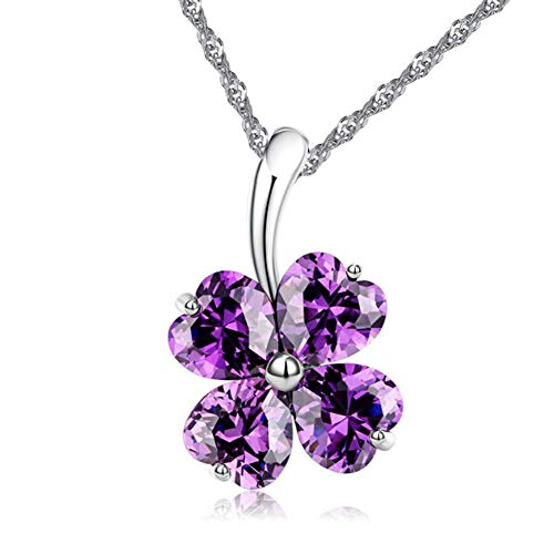 Leaf Charm Silver Glass Sterling (ATDMEI Lucky Charm Four Leaf Clover Pendant Necklace for Women Girls Sterling Silver Plated Friendship Purple Zircon Jewelry Gifts)
