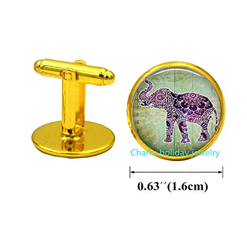 Elephant Cufflinks,Lucky Elephant Charm Cuff Links,Silver Elephant Cufflinks,Dainty Charm Cufflinks,Elephant Cuff Links.D0147 (Gold)