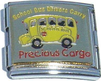 Mega School Bus Drivers Carry Precious Cargo Italian Charm (18mm Double Size Charm)